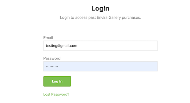 envira gallery account login