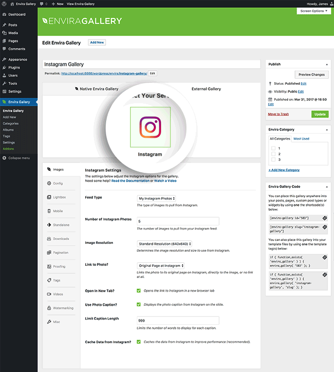 Select Instagram as the service you want to populate your gallery with to begin creating an Instagram gallery.