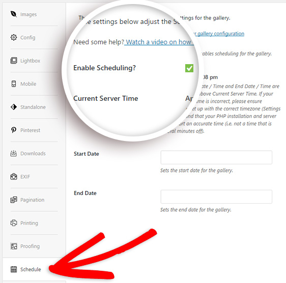 check to enable wordpress gallery scheduling