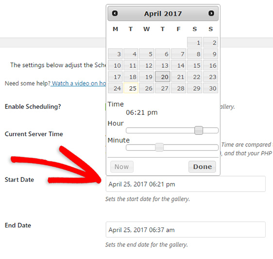 schedule wordpress gallery start date and end date