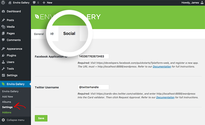 To begin configuring your social settings navigate to the Social tab in the Envira Gallery Settings screen.