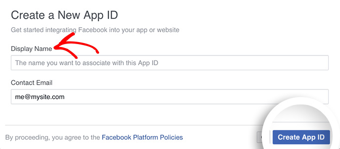 Enter a display name and click Create App ID