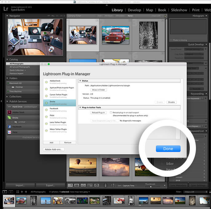 finish installing the lightroom addon in lightroom by clicking done