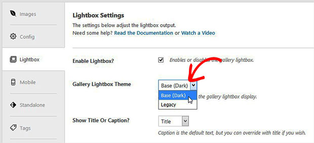 Gallery Lightbox Theme Settings