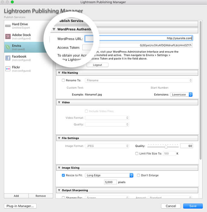 check that your WordPress URL in Lightroom does not contain www in the URL