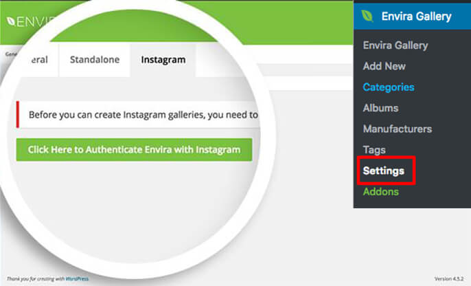 Select the button in the Instagram settings tab to authenticate your Instagram account with Envira Gallery.