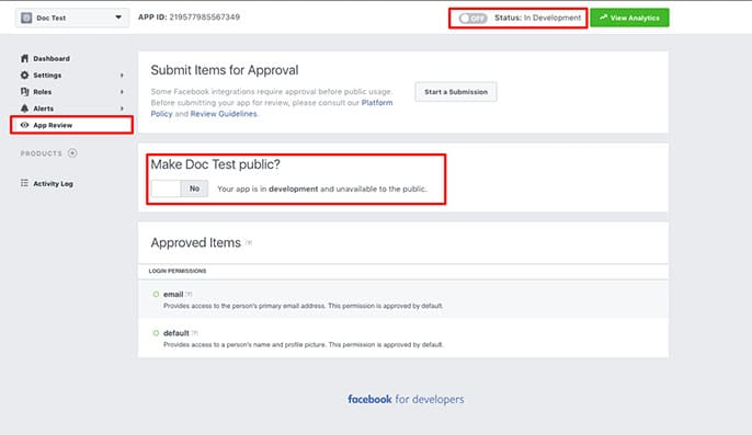 Make your Facebook App ID public so that Envira can share your images