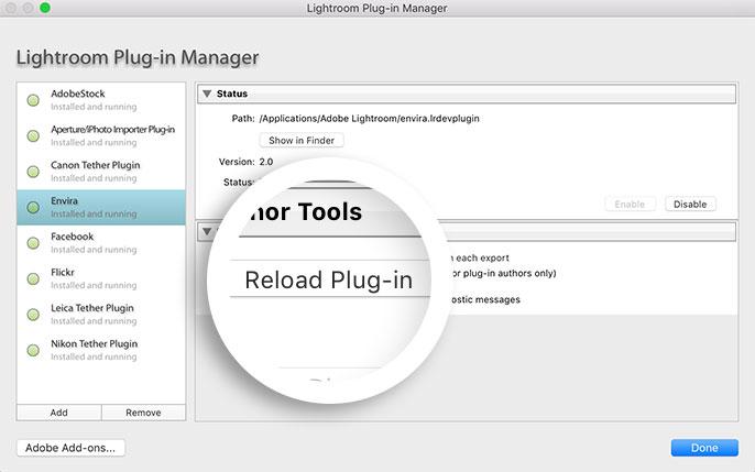 Reload Envira Gallery Plugin in Adobe Lightroom