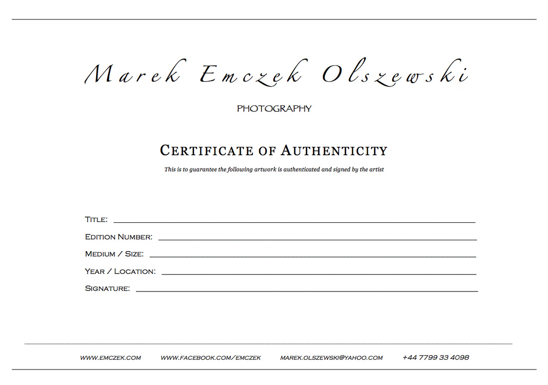 First Certificate of Authenticity for Your Photography