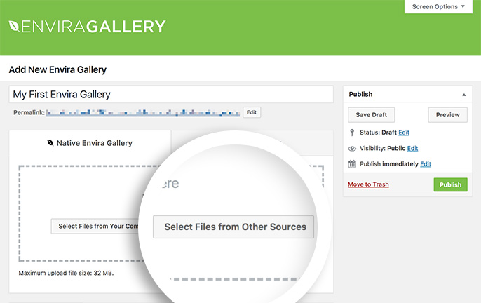 You can select images already uploaded to your WordPress site to insert into your Envira Galleries.