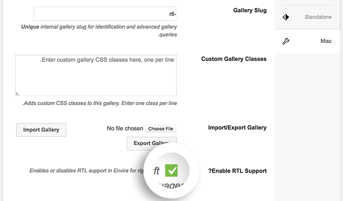 Click the checkbox and Update to enable RTL support