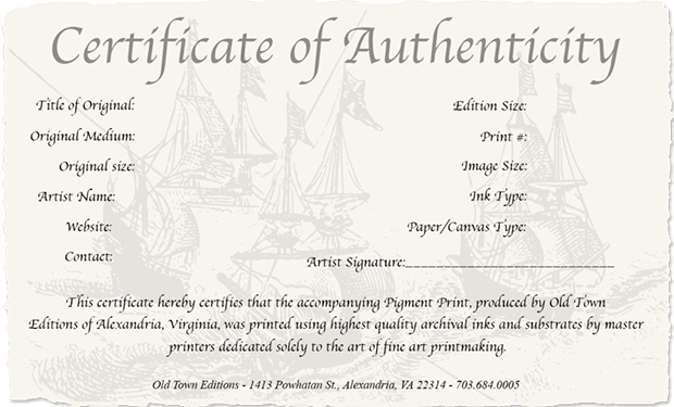 Second Certificate of Authenticity for Your Photography