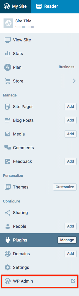 WordPress.com Business Account Admin