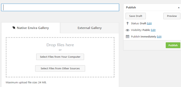 Creating an Envira gallery post, showing the drag and drop file section
