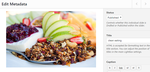 An image of a nice breakfast, showing the various settings you have available on each image