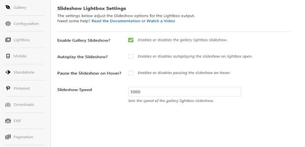 The Envira Gallery Slideshow Lightbox Settings page