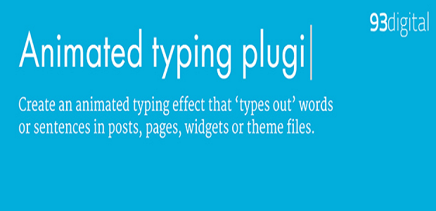 An Animated Typing Plugin banner, showing text in the process of being typed out, reading the name of the plugin