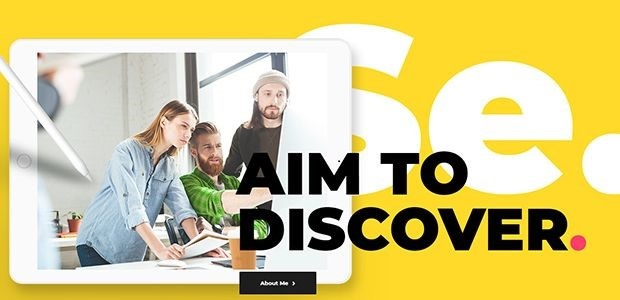 An Aoki Theme template predominantly featuring a bright, bold yellow