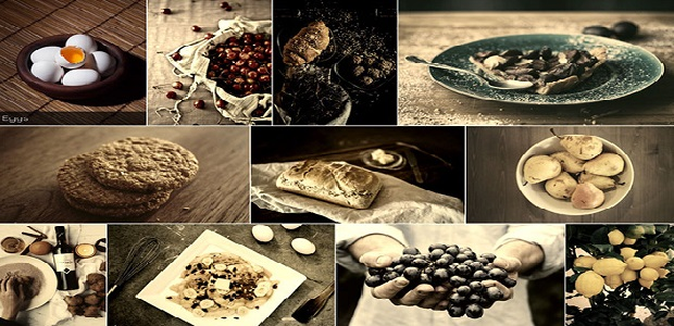 A gallery of various food images, with a sepia filter overlayed