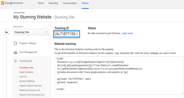 The tracking ID on the Google Analytics site