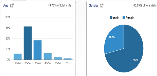 Age and gender demographic graphs on the demographics page of Google Analytics