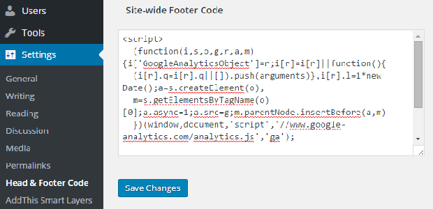 A side-wide footer code on the Google Analytics settings page
