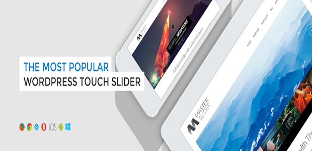 A Master Slider Plugin banner, showing a couple sliders on two different devices