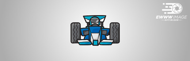 EWWW Image Optimizer banner, with a cartoon racer driving a racecar