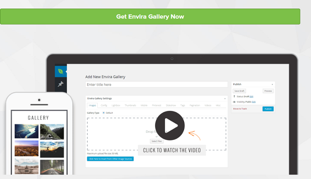 Envira Gallery banner, with the back-end shown on a desktop and an example gallery on mobile
