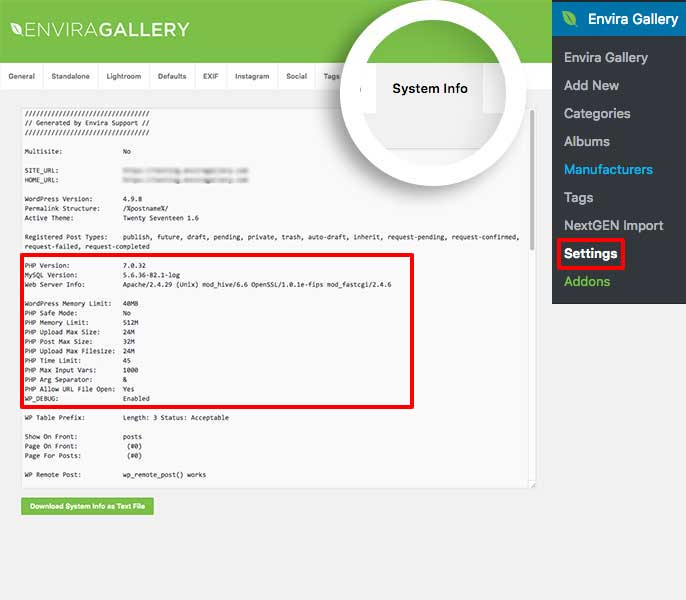 Find out specific server details about your hosting on Envira System Info tab
