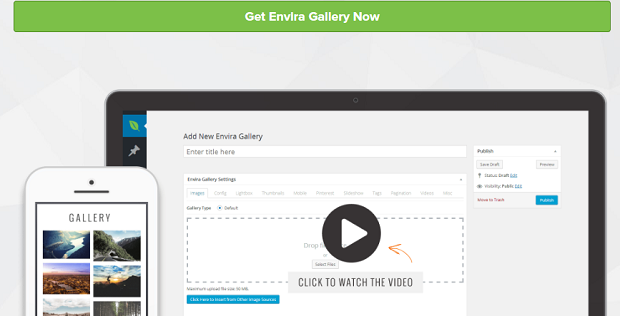 The Envira Gallery banner, showing the plugin's back end on a desktop and an example gallery full of landscape shots on mobile