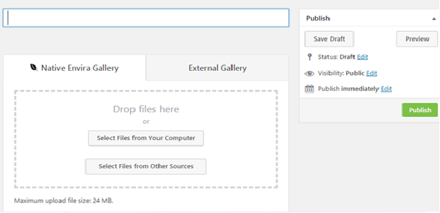 The drag-and-drop section of the Envira Gallery builder on a WordPress post