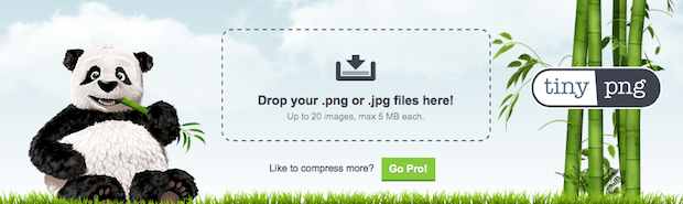 Tinypng Banner, showing the area to drop files for compression, and a panda eating bamboo