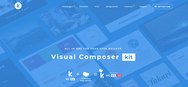 Visual Composer Kit banner, with a tilted example gallery overlayed in blue