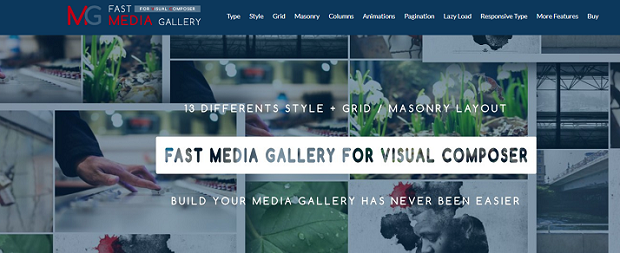 Fast Media Gallery banner, with a list of some of the plugin's features overlaying an example gallery