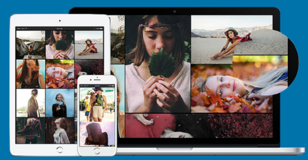 An image gallery, full of several different images of people in nature, seen on multiple different types of devices