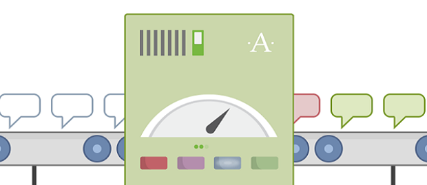 Askimet plugin banner, showing text bubble going into a sorting machine