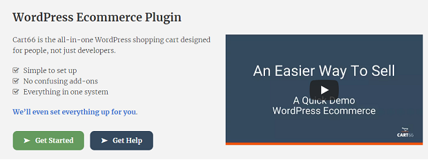 Cart66 banner, with a short list of the plugin's basic features