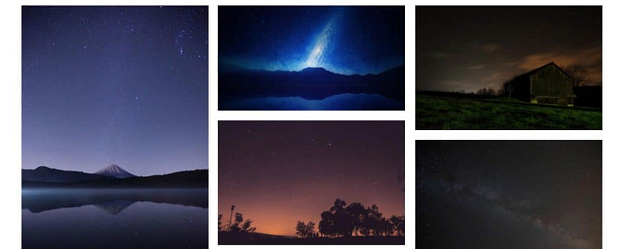 A collection of scenic night skies arranged in an image gallery