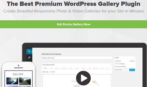 The Envira Gallery banner, showing the WordPress back end on a desktop and an example gallery on a mobile device