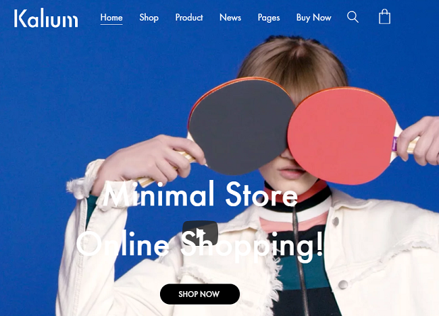 Kalium example homepage, showing a person covering their eyes with ping pong paddles