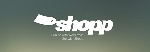 Shopp plugin banner, with a price tag on the word shopp