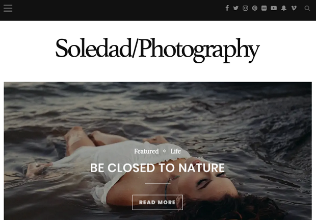 Soledad example homepage, showing a woman floating on water