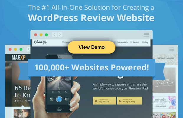 WordPress Review Pro plugin banner, showing a slider of a few of the many sites that use it