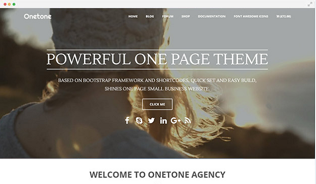 Onetone example homepage, showing someone on a cliff overlook the sea