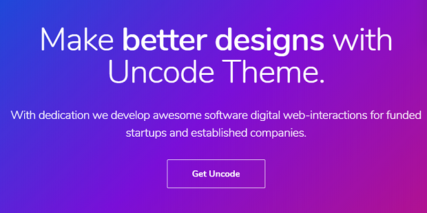 Uncode banner, with a short description of the theme on a blue and purple background