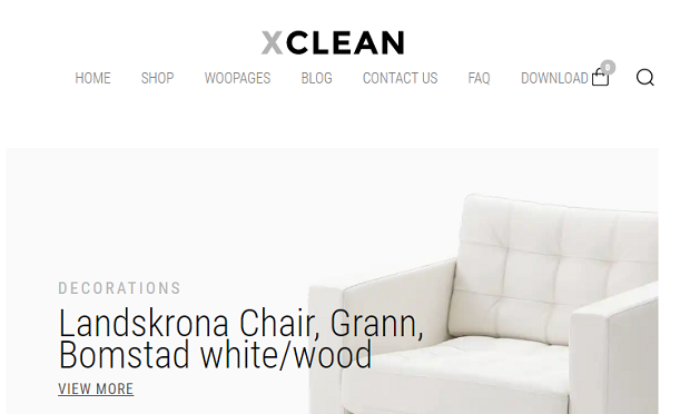 XClean example homepage, showing a minimal white chair