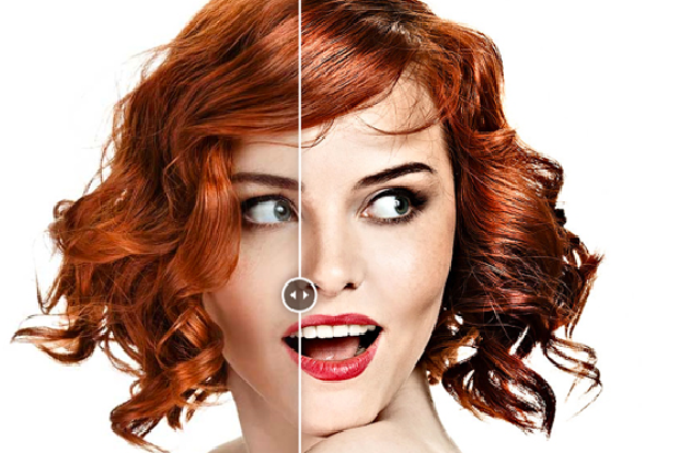 An example of the Fixel Contrastica 2 Photoshop plugin, used on an image of a redheaded woman with a white background