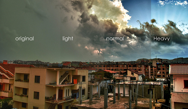 An example of the different HDR Tools density version compared to the original image, used on a picture of a town and a cloudy sky