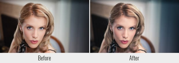 A before and after example of the Hollywood preset, used on a picture of a woman